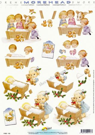 Morehead Christmas Children In A Nativity 3D Decoupage Paper Craft Sheet